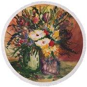 Flowers In Vases Round Beach Towel