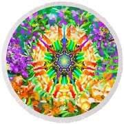 Flowers Mandala Round Beach Towel