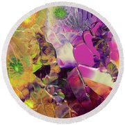 Flowers Of The Cosmic Sea Round Beach Towel