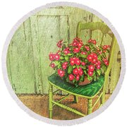Flowers On Green Chair Round Beach Towel by Lewis Mann