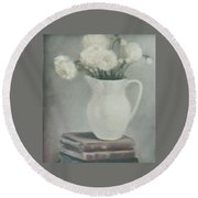 Flowers On Old Books Round Beach Towel