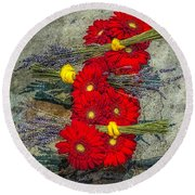 Round Beach Towel featuring the photograph Flowers On Rocks by Nick Zelinsky
