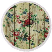 Flowers On Wood 01 Round Beach Towel