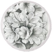 Round Beach Towel featuring the drawing Clivia Flowers Pencil by Melinda Blackman