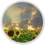 Flowers, Pillars And Rays, His Glory Will Shine Round Beach Towel