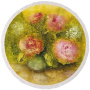 Round Beach Towel featuring the painting Flowers Pink by Marlene Book
