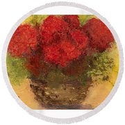 Round Beach Towel featuring the mixed media Flowers Red by Marlene Book