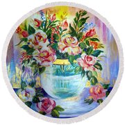 Round Beach Towel featuring the painting Flowers Still Life  by Roberto Gagliardi