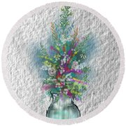 Round Beach Towel featuring the digital art Flowers Study Two by Darren Cannell