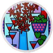 Flowers Wine Apples Round Beach Towel