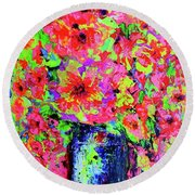 Flowers#2 Round Beach Towel