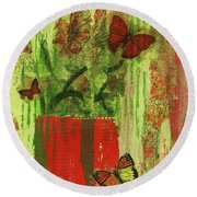 Round Beach Towel featuring the mixed media Flowers,butteriflies, And Vase by P J Lewis