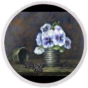 Flowers,pansies Still Life Round Beach Towel