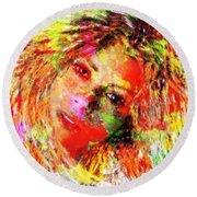 Flowery Shakira Round Beach Towel by Navo Art