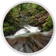 Flowing Downstream Waterfall Art By Kaylyn Franks Round Beach Towel