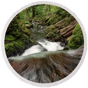 Flowing Downstream Waterfall Art By Kaylyn Franks Round Beach Towel
