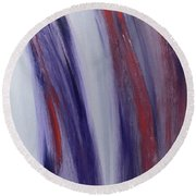 Red, White And Blue Flowing Energy Round Beach Towel by Karen Nicholson