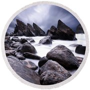 Round Beach Towel featuring the photograph Flowing by Jorge Maia