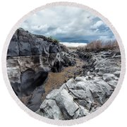 Flowing To The Storm Idaho Journey Landscape Art By Kaylyn Franks Round Beach Towel