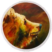 Fluffy Bear Round Beach Towel