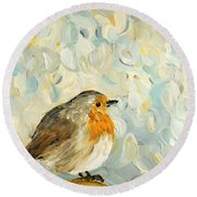 Fluffy Bird In Snow Round Beach Towel