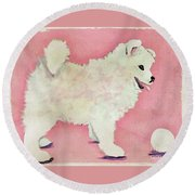 Fluffy Pup Round Beach Towel