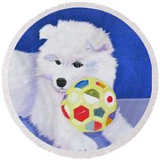 Fluffy's Portrait Round Beach Towel
