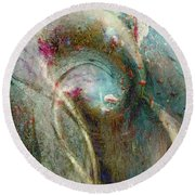 Round Beach Towel featuring the digital art Flugufrelsarinn by Linda Sannuti