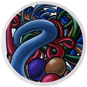 Fluid 1 - Abstract Art Painting - Chromatic Fluid Art Round Beach Towel