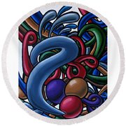 Colorful Abstract Art Painting Chromatic Water Artwork  Round Beach Towel
