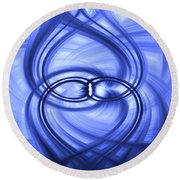 Round Beach Towel featuring the digital art Fluid Blue by Carolyn Marshall