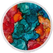 Round Beach Towel featuring the painting Fluid Depths Alcohol Ink Abstract by Nikki Marie Smith