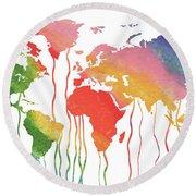 Fluid Rainbow Watercolor World Map Round Beach Towel