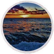 Fluid Sunset Round Beach Towel