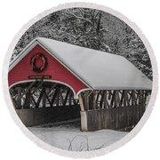 Flume Covered Bridge In Winter Round Beach Towel