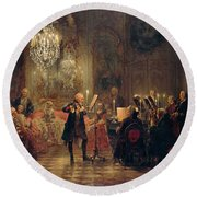 Round Beach Towel featuring the painting Flute Concert With Frederick The Great In Sanssouci by Adolph Menzel