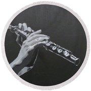 Flute Hands Round Beach Towel
