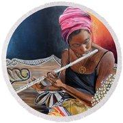 Flute Player Round Beach Towel