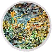 Round Beach Towel featuring the painting Flutes Breath by Alfred Motzer