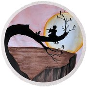 Round Beach Towel featuring the painting Flutist by Edwin Alverio