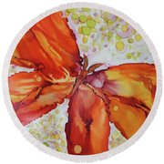Round Beach Towel featuring the painting Flutter by Joanne Smoley