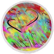 Fluttering Hearts Round Beach Towel