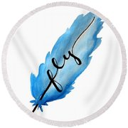 Fly Blue Feather Vertical Round Beach Towel
