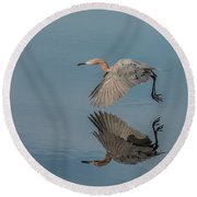 Fly By Reflection Round Beach Towel