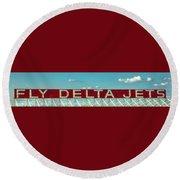 Fly Delta Jets Signage Hartsfield Jackson International Airport Art Atlanta, Georgia Art Round Beach Towel