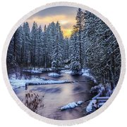 Round Beach Towel featuring the photograph Fly Fisherman On The Metolius by Cat Connor