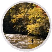 Fly Fisherman On The Tellico - D010008 Round Beach Towel by Daniel Dempster