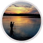 Fly-fisherman Silhouetted By Sunrise Round Beach Towel