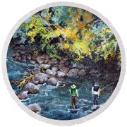 Fly Fishing Round Beach Towel