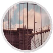 Fly Over Brooklyn  Round Beach Towel